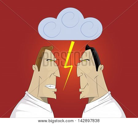 Vector illustration of two businessmen confrontation conflict and cussing.