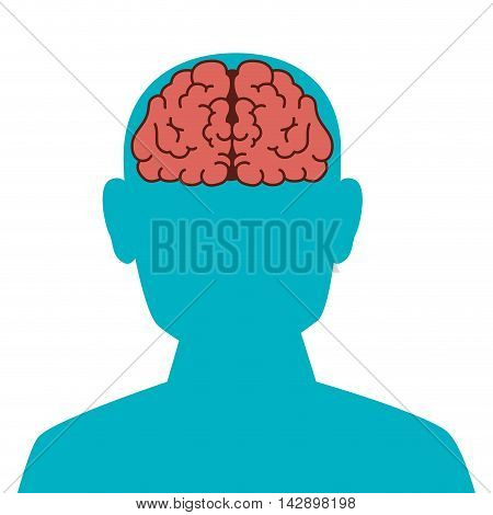 man face brain organ human person think mind intelligence vector  illustration isolated