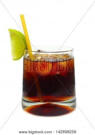 Rum and coke cocktail isolated on white