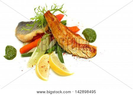Whitefish with vegetable - healthy eating background