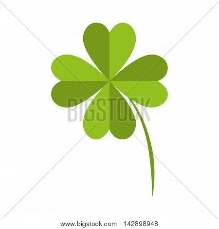 clover lucky fourth leaf plant fortune irish natural vector illustration isolated