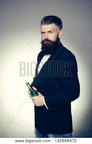 Bearded Man With Beer Bottle