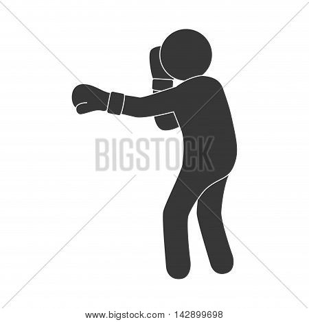 man boxing punch exercise training pose gloves combat vector illustration isolated