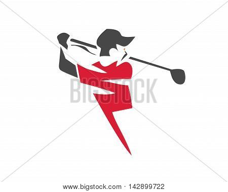 Modern Golf Logo - Red Lightning Golfer Symbol