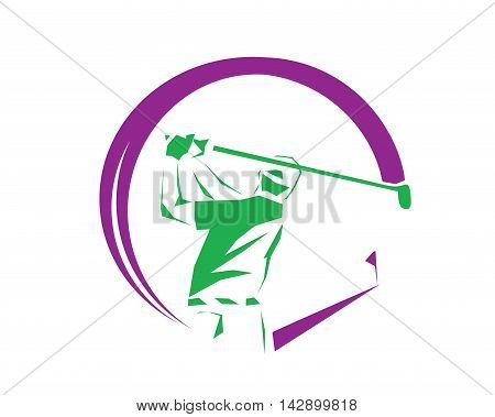 Modern Golf Logo - Hole In One Purple Symbol