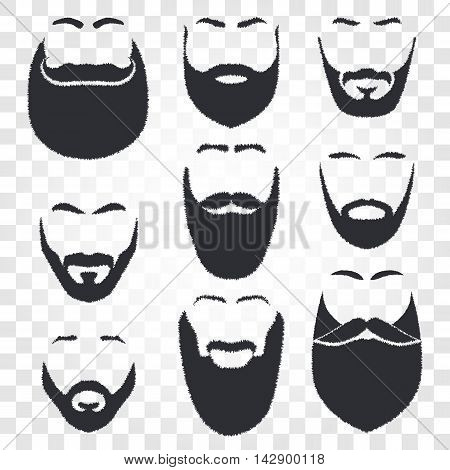 Isolated male face silhouette with mustache and beard vector logo set. Men barber shop emblem collection. Hairdresser logotype. Shaving machine and cosmetics label. Gentlemen beauty salon icon.