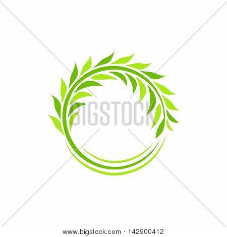 Isolated abstract round shape green color plant vector logo. Wheat ear logotype. Circular wreath illustration. Agricultural industry element. Leaves sign. Natural symbol