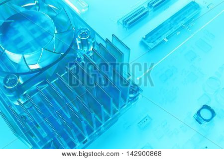 3D Glass Render Of Abstract Technology Circuit  Piece, Fragment Of Computer Cooler With Michoschemes