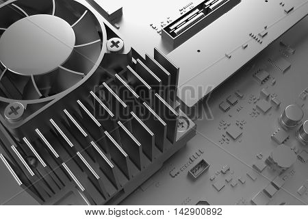 3D Render Of Abstract Technology Piece, Fragment Of Computer Cooler With Michoschemes And Condensato