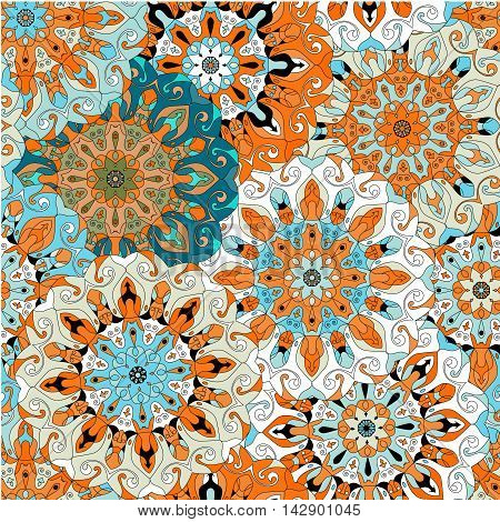Vintage decorative pattern. Islam Arabic Indian ottoman motifs. Perfect for printing on fabric or paper. Can be used for greeting card or booklet background. Blue and orange colors