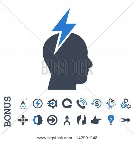 Headache vector bicolor icon. Image style is a flat iconic symbol, smooth blue colors, white background.