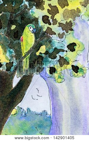 Original watercolor painting of one Hahns macaw parrot perching in a tree.
