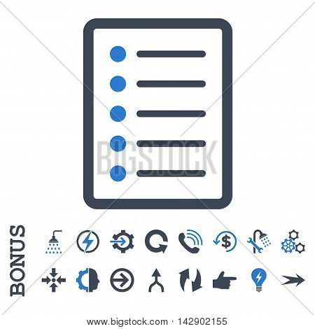 List Page vector bicolor icon. Image style is a flat iconic symbol, smooth blue colors, white background.