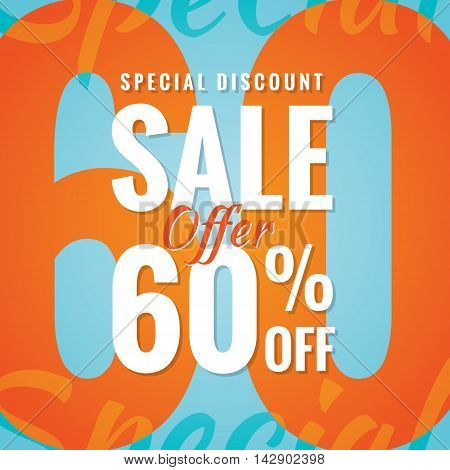 Special Discount Sale 60 Percent Heading Simple Modern Design For Banner Or Poster. Sale And Discoun