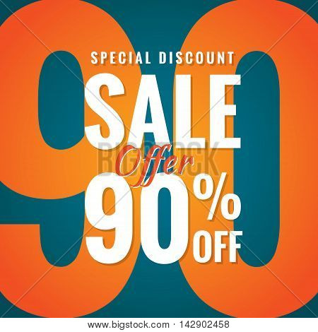 Special Discount Sale 90 Percent Heading Simple Modern Design For Banner Or Poster. Sale And Discoun