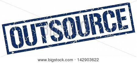outsource stamp. blue grunge square isolated sign