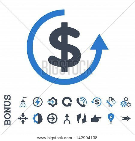Refund vector bicolor icon. Image style is a flat iconic symbol, smooth blue colors, white background.