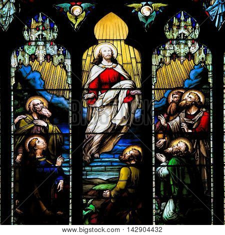 EDINBURGH SCOTLAND - OCTOBER 02, 2014: Stained glass window illustrated Bible stories in the St Giles' Cathedral of Edinburgh Scotland UK.