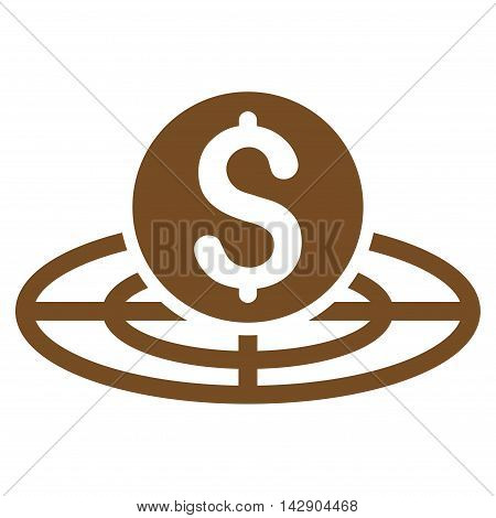 Money Crosshair icon. Vector style is flat iconic symbol with rounded angles, brown color, white background.