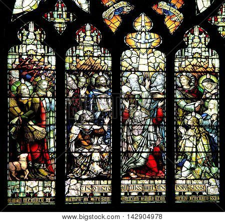 EDINBURGH, SCOTLAND - OCTOBER 02, 2014: Stained glass window in the St Giles' Cathedral of Edinburgh Scotland UK.