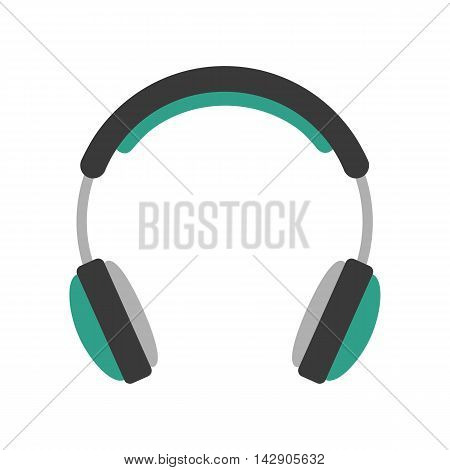 Flat icon headphone. Music and technology. Vector illustration.