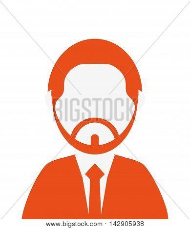 flat design bearded faceless man portrait icon vector illustration