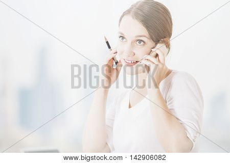 Portrait Of Woman On Phone
