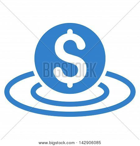 Dollar Coin Area icon. Vector style is flat iconic symbol with rounded angles, cobalt color, white background.