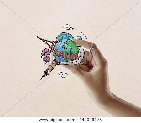 Female hand holding travel sketch on light textured background. Traveling concept