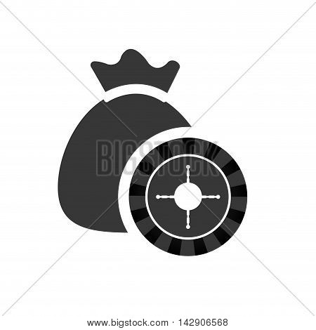 roulette money bag casino vegas icon. Flat and Isolated design. Vector illustration