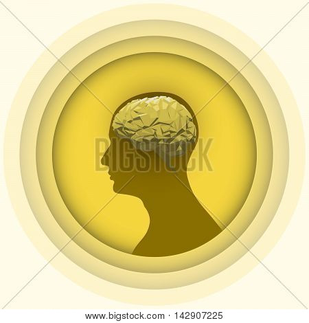 Silhouette of the human head with brain. Yellow low poly human brain. Vector illustration of abstract brain. Brain illustration for packaging drugs