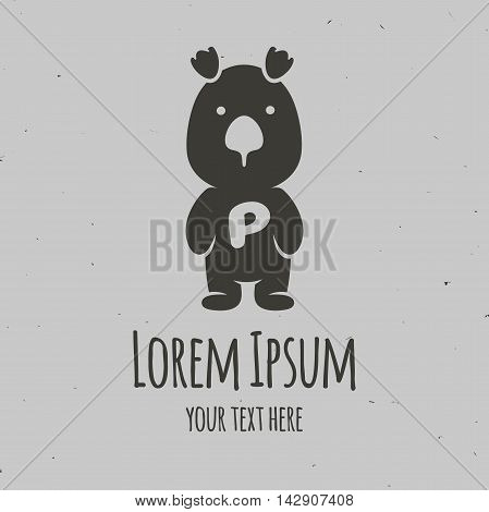 Silhouette little panda with the letter P. Logo design vector template.