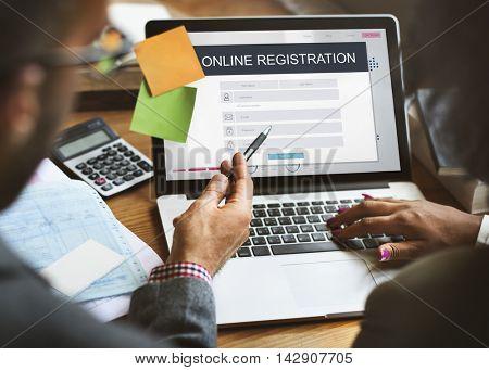 Online Registration Membership Follow Concept
