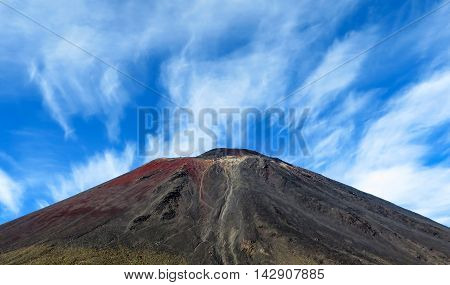 Volcanic mountain top with lava flow residue