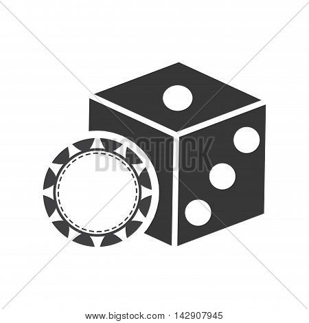 dice chip casino vegas icon. Flat and Isolated design. Vector illustration
