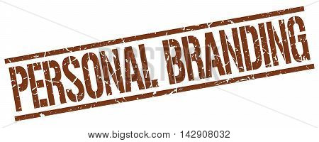 personal branding stamp. brown grunge square isolated sign