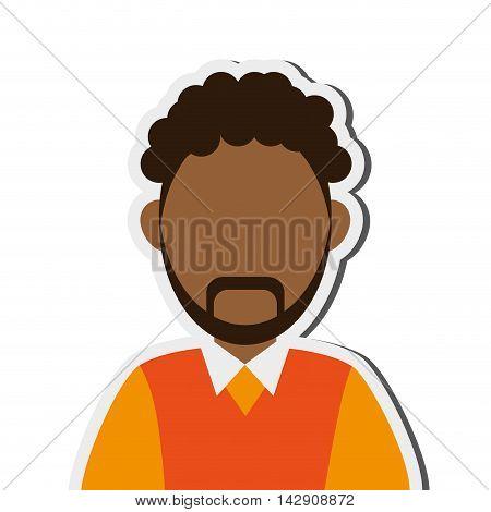 flat design dark skin faceless man portrait icon vector illustration