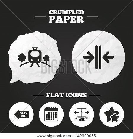 Crumpled paper speech bubble. Train railway icon. Overground transport. Automatic door symbol. Way out arrow sign. Paper button. Vector