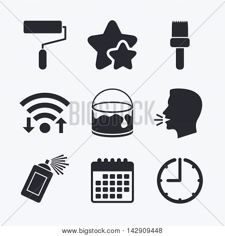 Painting roller, brush icons. Spray can and Bucket of paint signs. Wall repair tool and painting symbol. Wifi internet, favorite stars, calendar and clock. Talking head. Vector