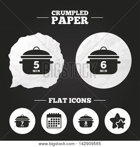 Crumpled paper speech bubble. Cooking pan icons. Boil 5, 6, 7 and 8 minutes signs. Stew food symbol. Paper button. Vector