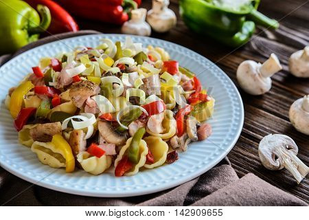 Pasta Salad With Chicken Meat, Bacon And Vegetable