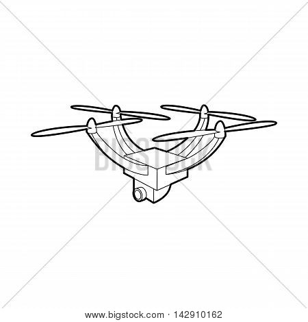 Drone with camera icon in outline style isolated on white background. Fly symbol