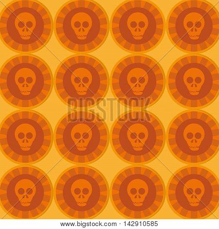 flat design mexican Sugar Skull pattern vector illustration