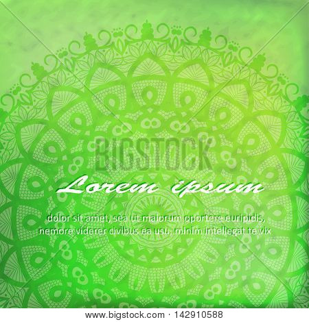 Vector Beautiful Deco green Mandala, Patterned Design Element, Ethnic Amulet