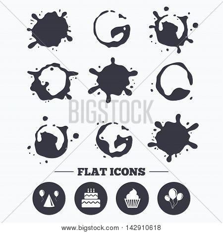 Paint, coffee or milk splash blots. Birthday party icons. Cake, balloon, hat and muffin signs. Celebration symbol. Cupcake sweet food. Smudges splashes drops. Vector