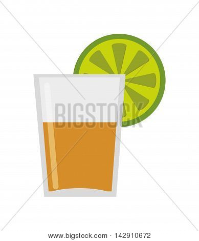 flat design tequila shot with lime icon vector illustration
