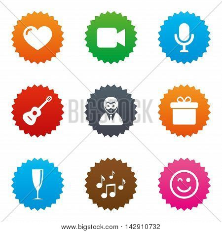 Party celebration, birthday icons. Carnival, guitar and champagne glass signs. Gift box, music and video camera symbols. Stars label button with flat icons. Vector