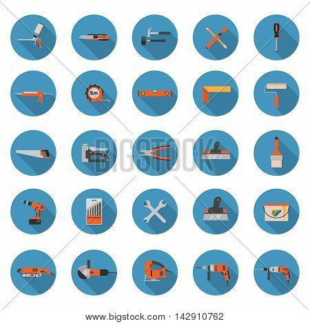 Set of construction tools ison on a white background - Flat style vector illustrations with long shadows