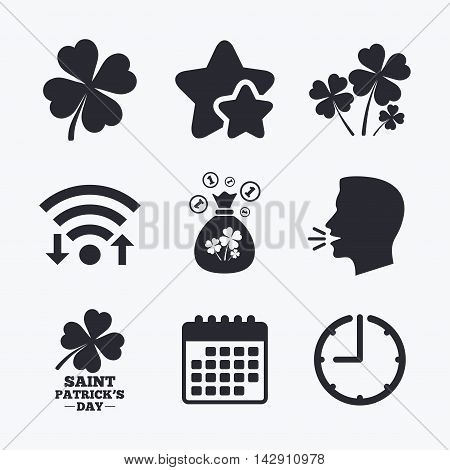 Saint Patrick day icons. Money bag with clovers and coins sign. Symbol of good luck. Wifi internet, favorite stars, calendar and clock. Talking head. Vector