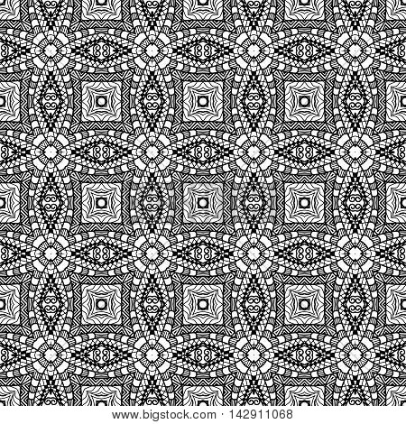 Black and white geometric seamless patterns. Vector illustration.
